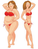 Fat and thin woman Stock Photo
