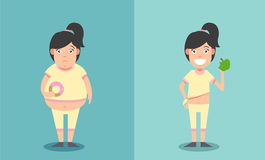 Fat and thin woman before and after concept Royalty Free Stock Image
