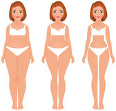 Fat to slim woman weight loss transformation front Stock Images