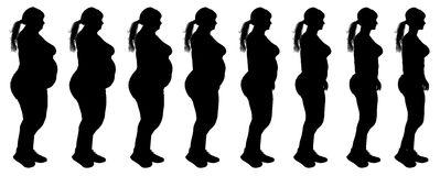 Fat to slim woman weight loss transformation silho Royalty Free Stock Photo
