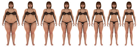 Fat to thin weight loss transformation of a white  Royalty Free Stock Photography
