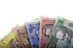 Fatura o valor nominal do twenty-hryvnia, dez hryvnia, hryvnia cinco Fotografia de Stock Royalty Free