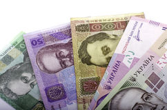 Fatura um valor nominal vinte do hryvnia, cinqüênta hryvnia, cem Fotos de Stock Royalty Free
