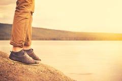 Feet man walking outdoor Travel Lifestyle Stock Photo