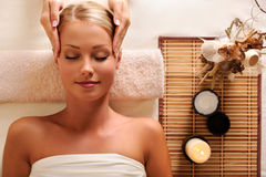 Female getting recreation massage of head Royalty Free Stock Photos