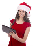 Female Santa using  tablet Stock Image