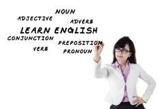 Female teacher of english language Stock Image