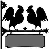 Fighting roosters sign Royalty Free Stock Image