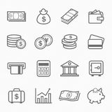 Finance and money outline stroke symbol icons Royalty Free Stock Photos