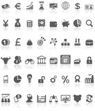 Financial Icons Collection Black on White Royalty Free Stock Photo