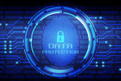Fingerprint and data protection on digital screen Royalty Free Stock Photos