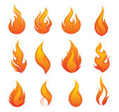 Fire icon set Stock Images