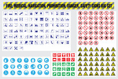 Fire medical navigation prohibition danger safety signs set Stock Photos