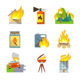 Fire Protection Icons Stock Photos