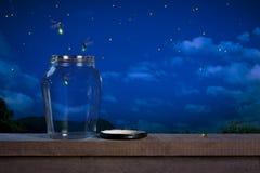 Fireflies at night Royalty Free Stock Photos