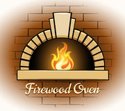 Firewood oven logo or badge Royalty Free Stock Images
