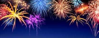Fireworks display panorama Stock Images