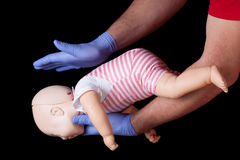First aid for choking infant Royalty Free Stock Photo