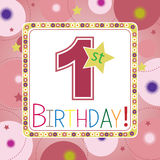 First birthday card Stock Images