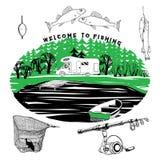 Fischerei Satz von an kampieren, motorhome im Wald Stockbild
