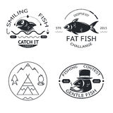 Fishing emblems labels elements logos icons set Royalty Free Stock Photography