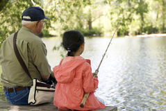 Fishing with Grandpa Royalty Free Stock Photography