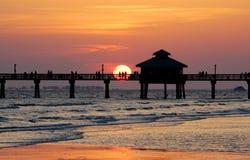 Fishing pier sunset Stock Image