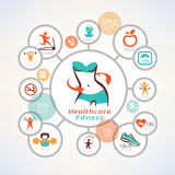 Fitness and body care infographics, icons collection Stock Photos