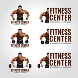 Fitness center logo low poly (Men's muscle strength and weight lifting) Royalty Free Stock Photos