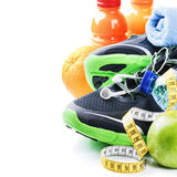Fitness concept with sport shoes and healthy nutrition Stock Photo