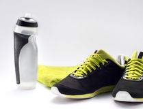 Fitness equipment and healthy nutrition Stock Image