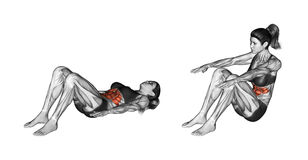 Fitness exercising. Lifting the body from a prone position. Female Stock Photo