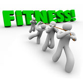 Fitness Word Team Exercising Pulling Together Physical Strength Stock Photo