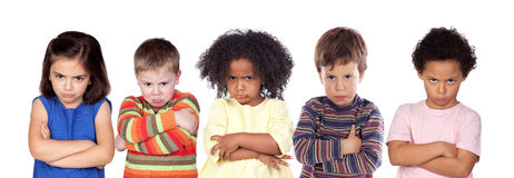 Five angry children Royalty Free Stock Image