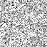 Flüchtiges nahtloses Muster des Gekritzel-Liebesvektors Lizenzfreie Stockfotografie