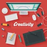 Flache Design-Illustration: Kreatives Büro Lizenzfreies Stockfoto