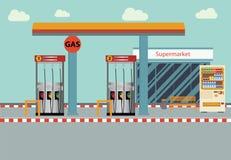 Flache Illustration Tankstelle Vektors Lizenzfreies Stockbild