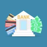 Flaches ArtBankgebäude mit Kreditkarten und Banknoten Lizenzfreies Stockfoto