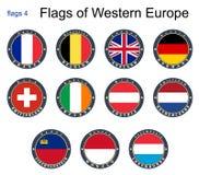 Flaggor av västra Europa Flaggor 4 Fotografering för Bildbyråer