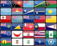 Flaggor för beståndsdeldesignsymboler av länderna av Australien och Oceanien Royaltyfri Bild