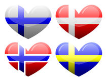 Flags of Scandinavia in the form of heart Stock Photo