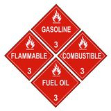 Flammable and Combustible Liquid Warning Placards Royalty Free Stock Photo