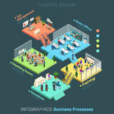 Flat 3d isometric business office floors interior rooms concept vector Royalty Free Stock Image