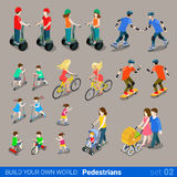 Flat 3d isometric city pedestrians on wheel transport icon set Royalty Free Stock Image
