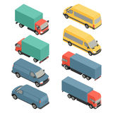 Flat 3d isometric city transport icons. Car van Stock Images