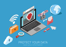 Flat 3d isometric data protection infographic concept vector Royalty Free Stock Photos
