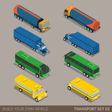 Flat 3d isometric long vehicle road transport icon set Stock Photography