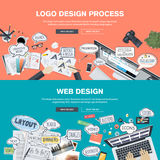 Flat design concepts for logo design and web design development Stock Photography