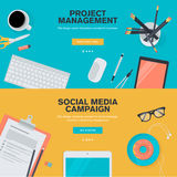 Flat design concepts for project management and social media campaign Royalty Free Stock Photography
