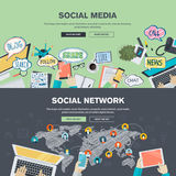 Flat design concepts for social media and social network Royalty Free Stock Photography